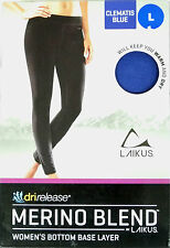 Ladies Laikus Dri-Release Merino Blend Bottoms Base Thermal Leggings Medium Blue
