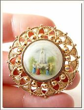 VINTAGE 1940's OUR LADY of FATIMA GERMAN RELIGIOUS BROOCH ! VISIT MY STORE !