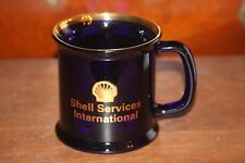 Shell Oil Services International Oil Coffee Mug Cobalt Blue With Gold Gas