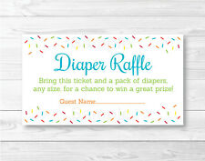 Baby Sprinkle Rainbow Blue Printable Baby Shower Diaper Raffle Tickets