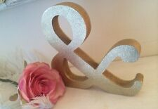 Glitter Gold Ampersand Sign & Shabby Chic Letters Signs Wedding Home