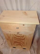 Primitive Pine Wood Trash Can With Drawer