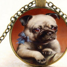 New Pug Puppy, Cabochon Pendant Necklace, Dog Art, Canine Fashion Jewellery Gift