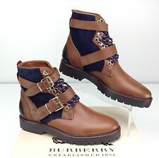 Burberry Utterback Lace Up Hiking Boots Biker Bootie Dark Brown Moto 37 / US 7
