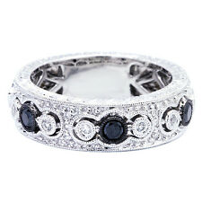 14K WHITE GOLD VINTAGE STYLE PAVE FILIGREE BLACK DIAMOND WEDDING BAND RING