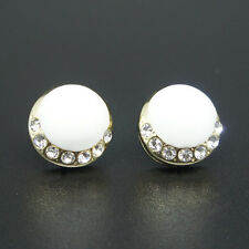14k Gold plated white enamel round elegant earrings with Swarovski crystals