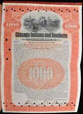 1906 Chicago Indiana Southern Railroad Company Stock $1000 Gold Bond Certificate