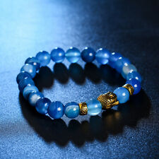 DF4 Natural Lava Stone Beads Blue & Gold Buddha Stretch Bracelet