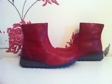 FLY LONDON MANI895FLY RED LEATHER LADIES ANKLE WEDGE BOOTS SIZE 5 UK 38 EU