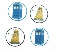 12 PRE CUT EDIBLE RICE WAFER PAPER CARD DR WHO TARDIS AND DALEK CUPCAKE TOPPERS