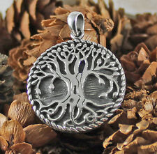 925 solid Sterling Silver Yew Tree of Life with hollow pendant