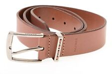$45 Tommy Hilfiger Brown Stitched Silver Smooth Buckle Belt Men's 36