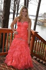 Coral strapless Tiffany  pageant prom gown size 4