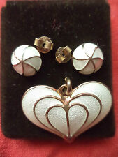 Vintage White Sterling Silver David Andersen Earrings & Heart Pendant Norway