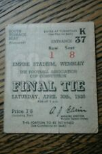 ORIGINAL 1938 FA CUP FINAL TICKET STUB.VGC FOR ITS AGE.