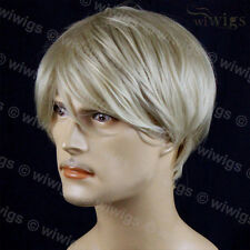 NEW Layered Bangs Man Wig Short Blonde Mix Men's Full Wigs WIWIGS UK