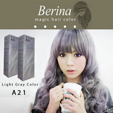 2 BOXES Berina Permanent Hair Color Cream Hair Style Dye Light Grey Silver A21