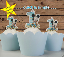 baby mickey mouse striped 1st first birthday EDIBLE wafer cupcake toppers