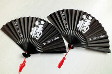 2 JAPANESE PAPER BLACK HAND FAN WHITE LUCK CHINESE NEW YEAR BIRTHDAY PARTY A7