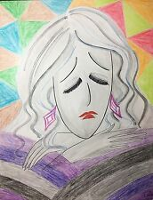 Mood_Watercolor and Crayon_Portrait of Woman_Expressionism
