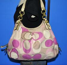 COACH ~ RARE ~Scarf Print MIA MAGGIE Rose Pink Hobo Shoulder Purse Bag 16335