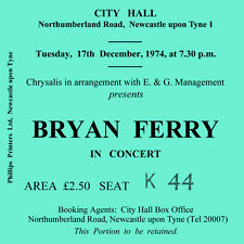 Bryan Ferry Concert Coasters December 1974 Ticket High quality Coaster