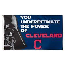 CLEVELAND INDIANS STAR WARS YOU UNDERESTIMATE THE POWER OF 3'X5' DELUXE FLAG
