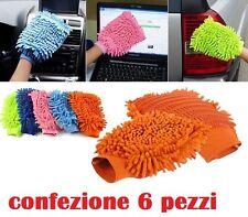 Set 6 Pezzi Guanto Microfibra Pulizia Lavaggio Auto Cucina Bagno Ufficio moc