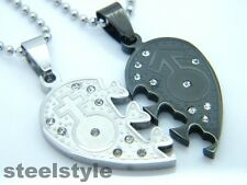WOMENS MENS STAINLESS STEEL 316L COUPLE  PENDANT NECKLACE SILVER/BLACK HEARTS