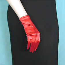 Wrist Length Shortie Smooth Satin Stretch Gloves - Prom Formal Wedding Dance