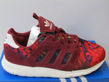 UK SIZE 9 - ADIDAS ZX 500 2.0 UNISEX TRAINERS - BURGUNDY / DESIGN