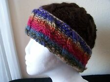 Hand knitted warm & cozy beanie/hat, cable pattern, brown with colors