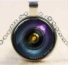 Vintage Microscopic world lens Cabochon silver Glass Chain Pendant Necklace W106