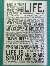 This Is Your Life Motivational Inspirational poster Farbic Silk Print x