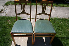 (2) Vintage Stakmore Mid-Century Modern Green padded Wooden Folding Chairs