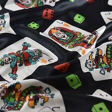 "Black Joker Cards Printed Silky Soft Satin Fabric Fancy Dress Carnival 59"" Wide"