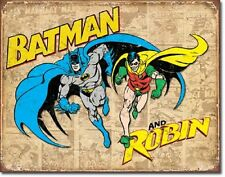 Batman and Robin TIN SIGN vtg retro metal wall decor dc comics superheroes  1826