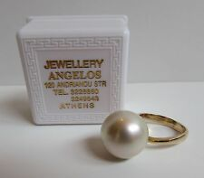 Vintage 18k Gold 16mm Ring size 7 man made  White PEARL cocktail Athens Greece