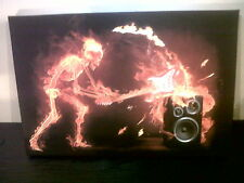 """SKELETON on FIRE 'ART CANVAS' Ready To Hang. Wooden Frame.18x12"""" BANKSY"""