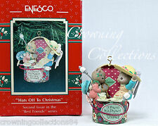 Enesco Hats off to Christmas Mice Ornament Best Friends Series Treasury Hat Box