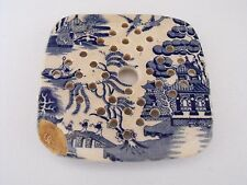 Antique Staffordshire Transferware Blue Willow Small Square Meat Fish Drainer