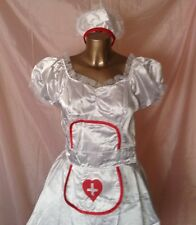 WHITE SEXY NURSE COSTUME DRESS HAT 2 UNDERSKIRTS FANCY DRESS POLYESTER SIZE S