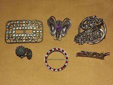 VINTAGE 6 PIECE STERLING SILVER WOMEN'S BUTTERFLY PEACOCK PINS EARRINGS ETC LOT