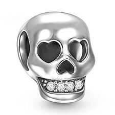 Skull Charm Bead - 925 Sterling Silver - Scary Halloween Gothic Christmas Gift
