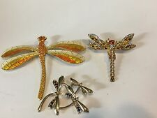 LOT OF 3 PINS & BROOCHES - VARIOUS DRAGONFLIES
