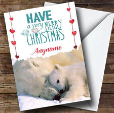 Cuddling Polar Bears Personalised Christmas Card