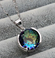 18K White Gold Filled -12MM Blue MYSTICAL Topaz Gemstone Pendant Prom Necklace