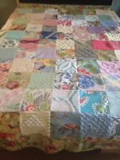 VINTAGE CHENILLE BEDSPREAD & DECORATOR FABRIC COVERLET GREEN YELLOW BLUE PINK