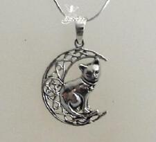 Silver Cat on Moon with pentagram necklace by Lisa Parker Sterling .925 Licensed
