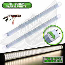 "2x LED T8 Tube Replacement Light 18"" 600 LUMEN Autos 8-30v 12v Warm White"